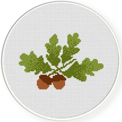 Acorns With Leaves Cross Stitch Illustration