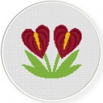 Anthurium Cross Stitch Illustration