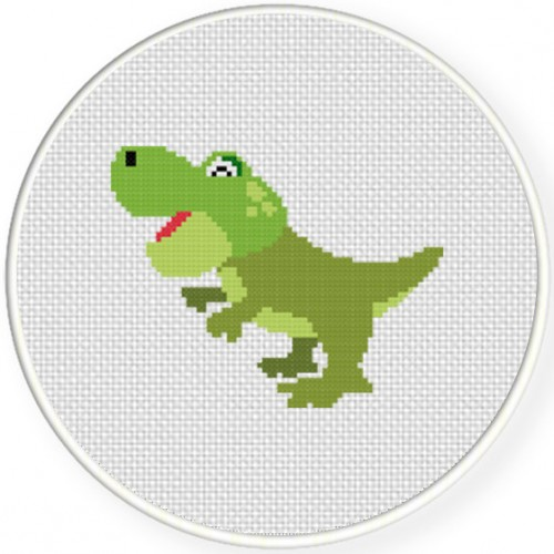 Baby Trex Cross Stitch Illustration