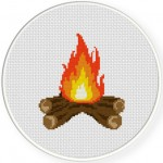 Bonfire Cross Stitch Illustration