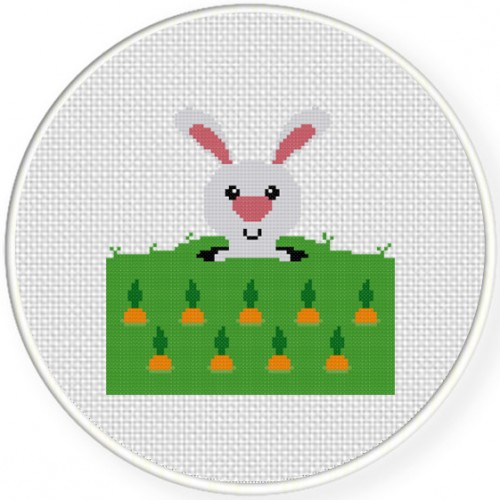 Bunny Garden Cross Stitch Illustration