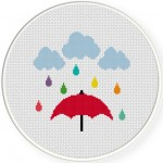 Colorful Rain Cross Stitch Illustration