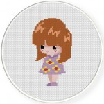 Cute Ginger Girl Cross Stitch Illustration
