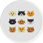 Cute Head Kitties Cross Stitch Illustration