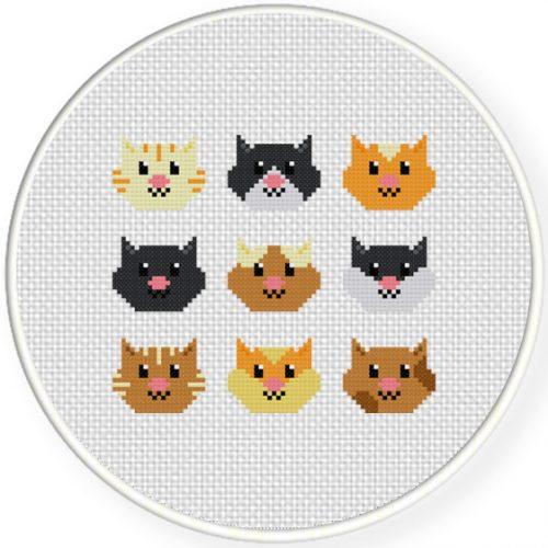 Cute Head Kitties Cross Stitch Illustration