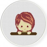 Cute Red Head Girl Looking Over Cross Stitch Illustration