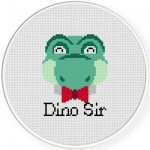 Dino Sir Cross Stitch Illustration