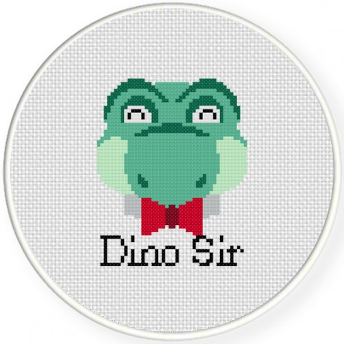 Dino Sir Cross Stitch Illustration