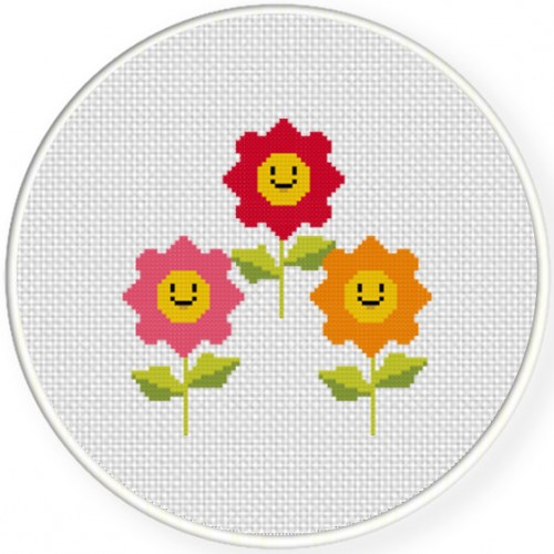 Happy Flowers Cross Stitch Illustration
