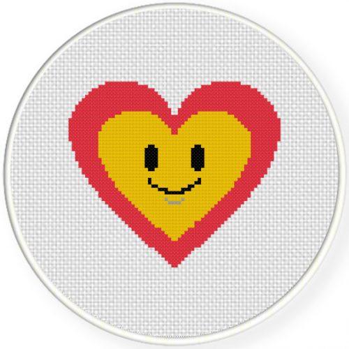 Happy Heart Cross Stitch Illustration