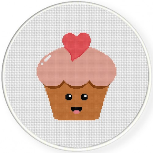 Heart Cupcake With Happy Cross Stitch Illustration