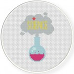 I Heart Science Cross Stitch Illustration