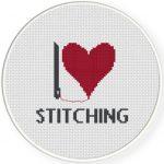 I Heart Stitching Cross Stitch Illustration