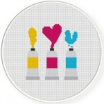 I Love You Paint Cross Stitch Illustration