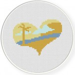 I heart Beach Cross Stitch Illustration