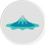 Icy Mountain Cross Stitch Illustration