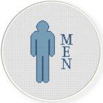 Men Bathroom Sign Cross Stitch Illustration
