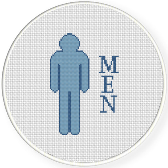 Men bathroom sign cross stitch pattern daily cross stitch for Bathroom cross stitch patterns free