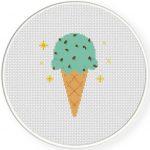 Mint Chocolate Chip Cross Stitch Illustration