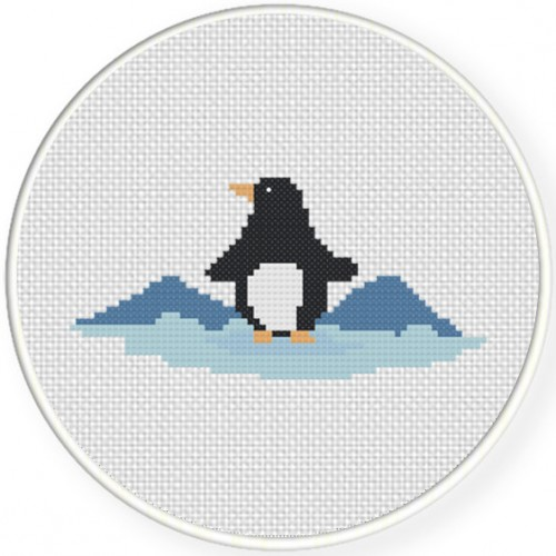 Penguin And Mountains Cross Stitch Illustration