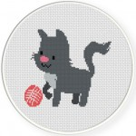 Playful Cat Cross Stitch Illustration