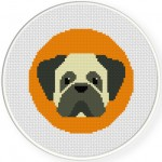 Pug Portrait Cross Stitch Illustration