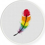 Rainbow Feather Cross Stitch Illustration