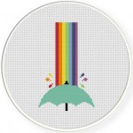 Rainbow Shower With Umbrella Cross Stitch Illustration