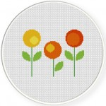 Round Florals Cross Stitch Illustration