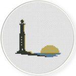 Seashore Sunset Cross Stitch Illustration