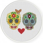 Sugar Skull Couples Cross Stitch Illustration