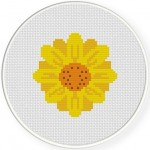 Sunflower And Seeds Cross Stitch Illustration