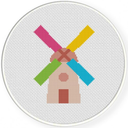 Wind Mill Cross Stitch Illustration