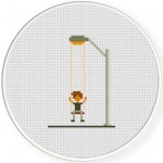 A Boy In Street-Swing Light Cross Stitch Illustration