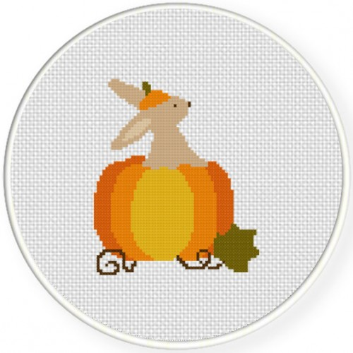 Autumn Bunny Pumpkin Cross Stitch Illustration