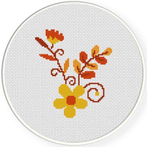 Autumn Flowers Cross Stitch Illustration