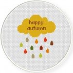Autumn Rain Cross Stitch Illustration