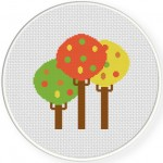Autumn Trees Cross Stitch Illustration