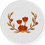 Autumn Wreath Cross Stitch Illustration