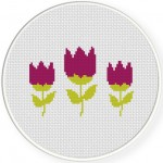 Beautiful Purple Flowers Cross Stitch Illustration