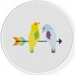 Bird On Arrow Cross Stitch Illustration