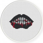 Bloody Black Lips Cross Stitch Illustration