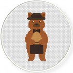 Business Bear Cross Stitch Illustration