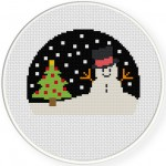Christmas Season With Snowman Cross Stitch Illustration