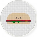 Cute Burger Cross Stitch Illustration