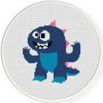Cute Kaiju Cross Stitch Illustration