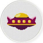 Cute UFO Cross Stitch Illustration