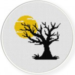Halloween Full Moon Cross Stitch Illustration
