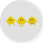 Happy Chicks Cross Stitch Illustration