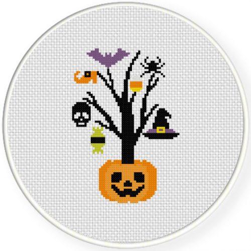 Happy Halloween Tree Cross Stitch Illustration